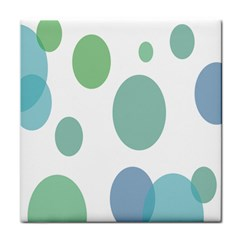 Polka Dots Blue Green White Face Towel