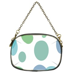 Polka Dots Blue Green White Chain Purses (two Sides)
