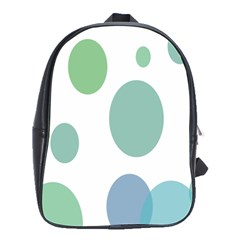 Polka Dots Blue Green White School Bag (large)
