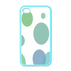 Polka Dots Blue Green White Apple Iphone 4 Case (color)