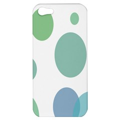 Polka Dots Blue Green White Apple Iphone 5 Hardshell Case