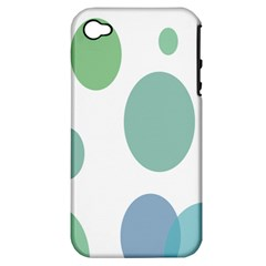 Polka Dots Blue Green White Apple Iphone 4/4s Hardshell Case (pc+silicone)