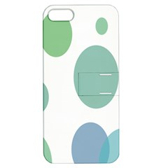 Polka Dots Blue Green White Apple Iphone 5 Hardshell Case With Stand