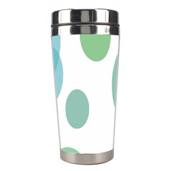 Polka Dots Blue Green White Stainless Steel Travel Tumblers