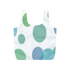 Polka Dots Blue Green White Full Print Recycle Bags (s)