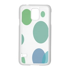 Polka Dots Blue Green White Samsung Galaxy S5 Case (white)