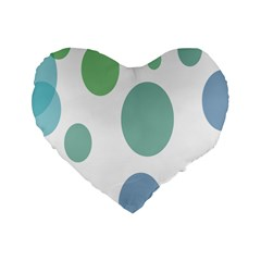 Polka Dots Blue Green White Standard 16  Premium Flano Heart Shape Cushions