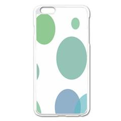 Polka Dots Blue Green White Apple Iphone 6 Plus/6s Plus Enamel White Case