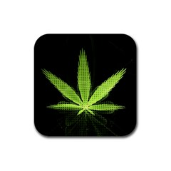 Marijuana Weed Drugs Neon Green Black Light Rubber Coaster (square)