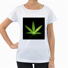 Marijuana Weed Drugs Neon Green Black Light Women s Loose Fit T Shirt (white)
