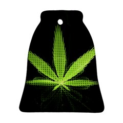 Marijuana Weed Drugs Neon Green Black Light Bell Ornament (two Sides)