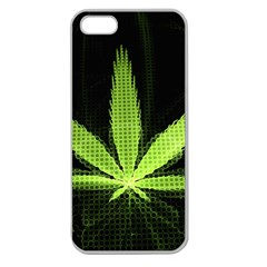 Marijuana Weed Drugs Neon Green Black Light Apple Seamless Iphone 5 Case (clear)