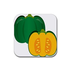 Pumpkin Peppers Green Yellow Rubber Square Coaster (4 Pack)