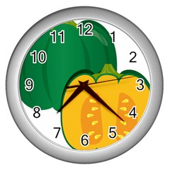 Pumpkin Peppers Green Yellow Wall Clocks (silver)