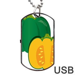 Pumpkin Peppers Green Yellow Dog Tag Usb Flash (two Sides)