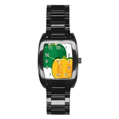 Pumpkin Peppers Green Yellow Stainless Steel Barrel Watch
