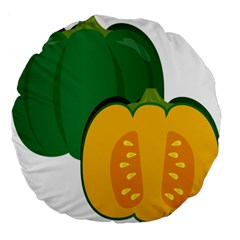 Pumpkin Peppers Green Yellow Large 18  Premium Flano Round Cushions