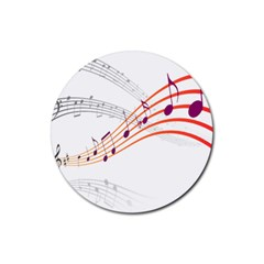 Musical Net Purpel Orange Note Rubber Coaster (round)