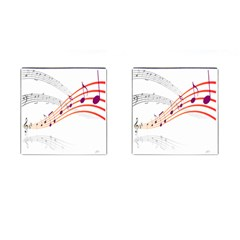 Musical Net Purpel Orange Note Cufflinks (square)