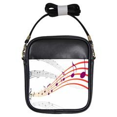 Musical Net Purpel Orange Note Girls Sling Bags