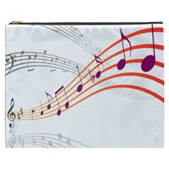 Musical Net Purpel Orange Note Cosmetic Bag (xxxl)
