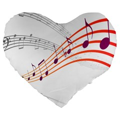 Musical Net Purpel Orange Note Large 19  Premium Heart Shape Cushions