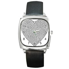 Marijuana Heart Cannabis Black Love Square Metal Watch