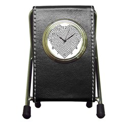 Marijuana Heart Cannabis Black Love Pen Holder Desk Clocks