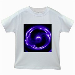 Purple Black Star Neon Light Space Galaxy Kids White T Shirts