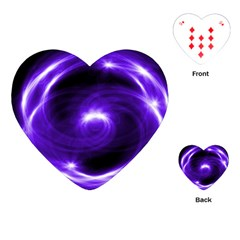 Purple Black Star Neon Light Space Galaxy Playing Cards (heart)