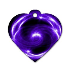 Purple Black Star Neon Light Space Galaxy Dog Tag Heart (two Sides)