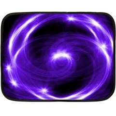 Purple Black Star Neon Light Space Galaxy Fleece Blanket (mini)