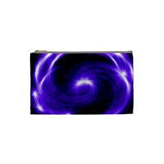 Purple Black Star Neon Light Space Galaxy Cosmetic Bag (small)