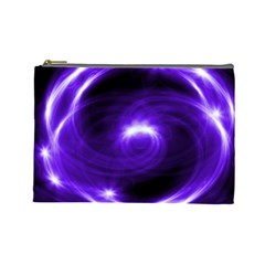 Purple Black Star Neon Light Space Galaxy Cosmetic Bag (large)