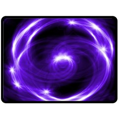 Purple Black Star Neon Light Space Galaxy Double Sided Fleece Blanket (large)