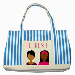 Black Girls Be The Best You Striped Blue Tote Bag