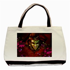 Wonderful Venetian Mask With Floral Elements Basic Tote Bag (two Sides)