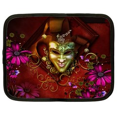 Wonderful Venetian Mask With Floral Elements Netbook Case (large)
