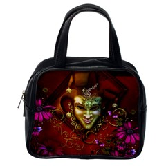 Wonderful Venetian Mask With Floral Elements Classic Handbags (one Side)