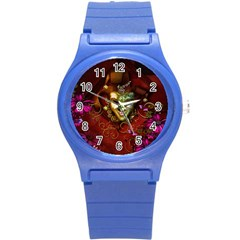 Wonderful Venetian Mask With Floral Elements Round Plastic Sport Watch (s)
