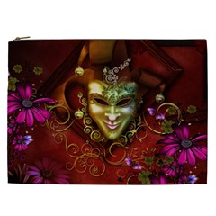 Wonderful Venetian Mask With Floral Elements Cosmetic Bag (xxl)