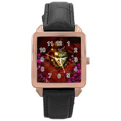 Wonderful Venetian Mask With Floral Elements Rose Gold Leather Watch