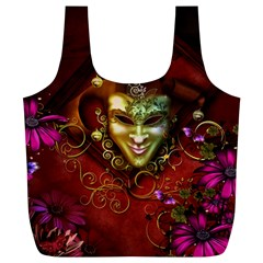 Wonderful Venetian Mask With Floral Elements Full Print Recycle Bags (l)