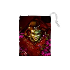 Wonderful Venetian Mask With Floral Elements Drawstring Pouches (small)