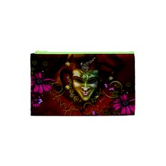 Wonderful Venetian Mask With Floral Elements Cosmetic Bag (xs)