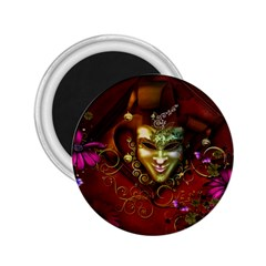 Wonderful Venetian Mask With Floral Elements 2 25  Magnets