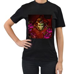 Wonderful Venetian Mask With Floral Elements Women s T Shirt (black) (two Sided)