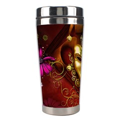 Wonderful Venetian Mask With Floral Elements Stainless Steel Travel Tumblers