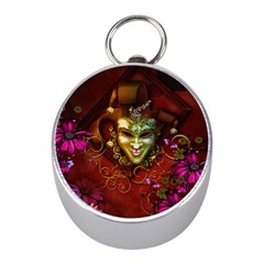 Wonderful Venetian Mask With Floral Elements Mini Silver Compasses
