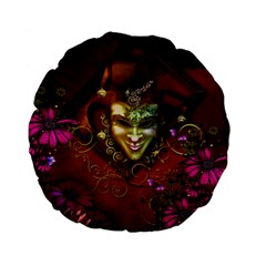 Wonderful Venetian Mask With Floral Elements Standard 15  Premium Flano Round Cushions
